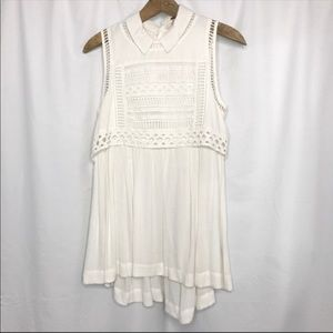 Free People Pheasant Top Blouse Cut Out Sleeveless